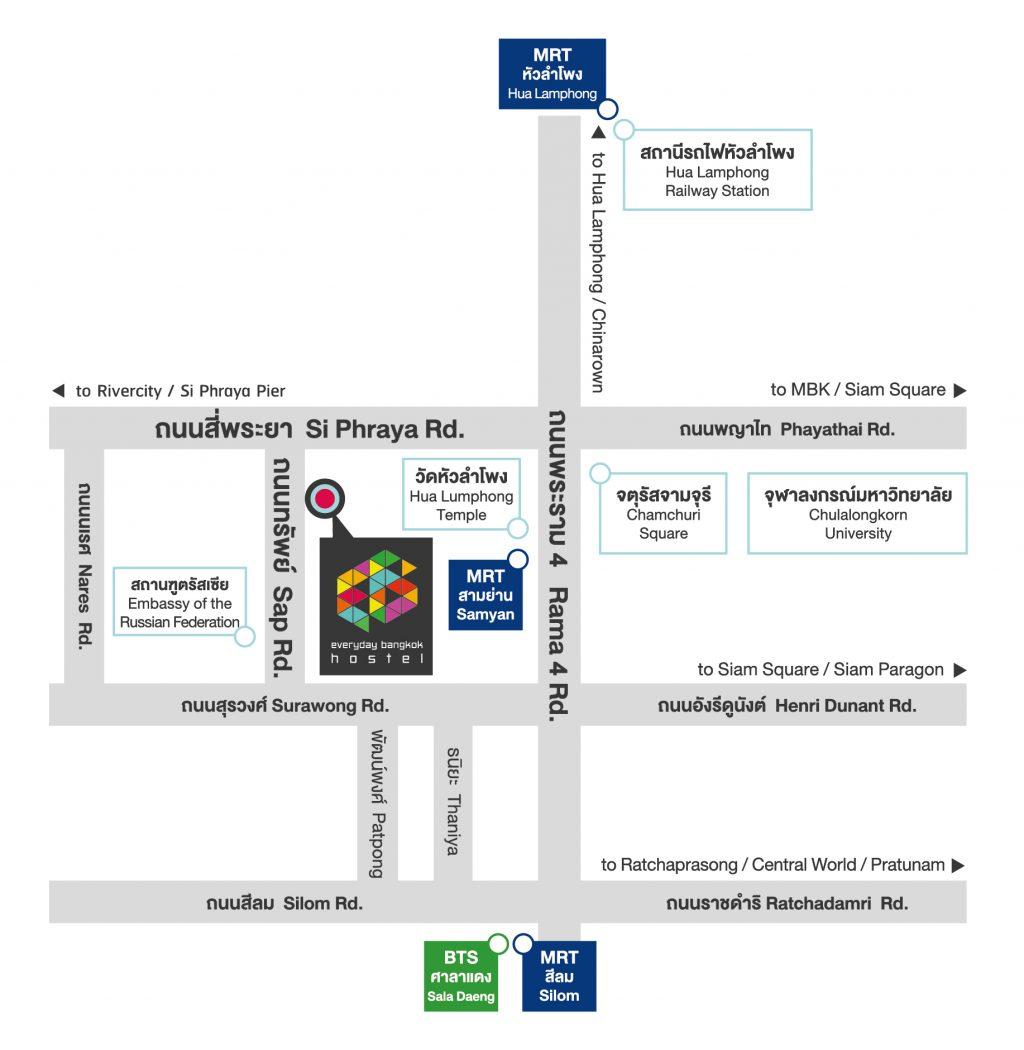 Contact Us Everyday Bangkok Hostel Bangkoks Latest Iconic Hostel - Us embassy bangkok map